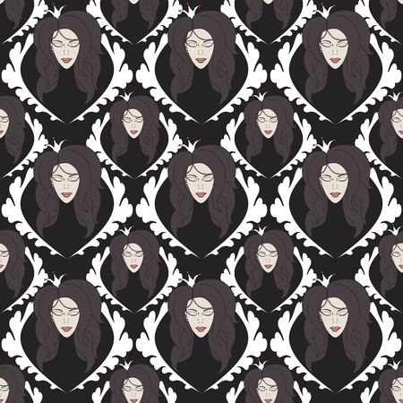eyes closed: seamless pattern with princess with crown with eyes closed.