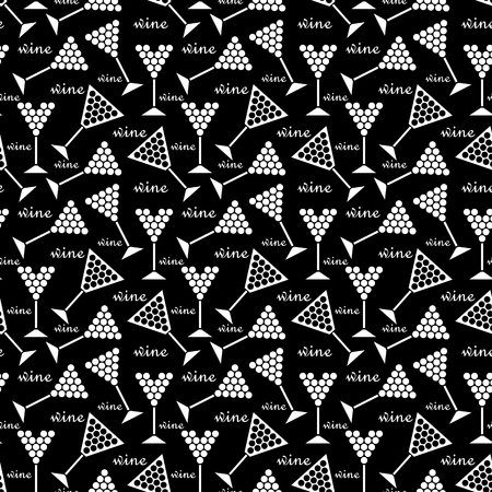 black grape: black seamless pattern with white wine glasses with grape. vector Illustration