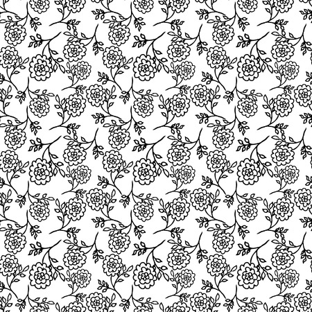 peony black: white seamless pattern with black abstract peony flowers. vector