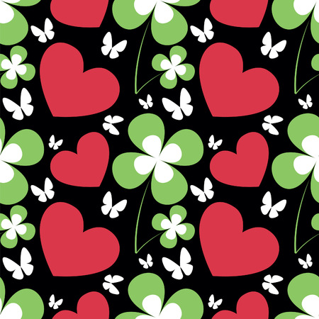 patric: Patrick s Day pattern with red heart and green leafs of clover on the black background. vector