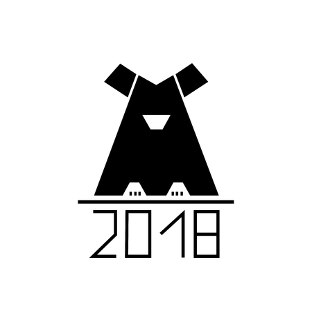 animal silhouette: Abstract dog as symbol 2018 year. Illustration