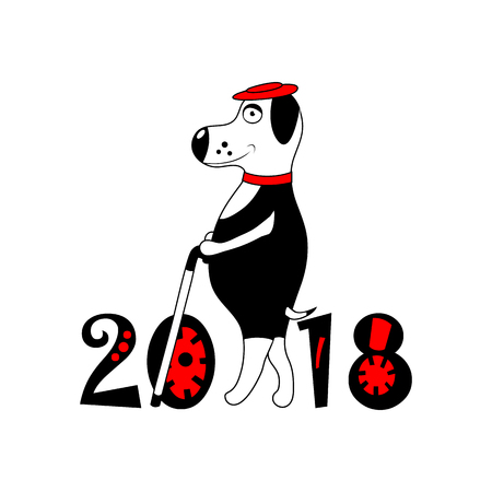 Dog with hat and cane as symbol 2018. isolated. vector.