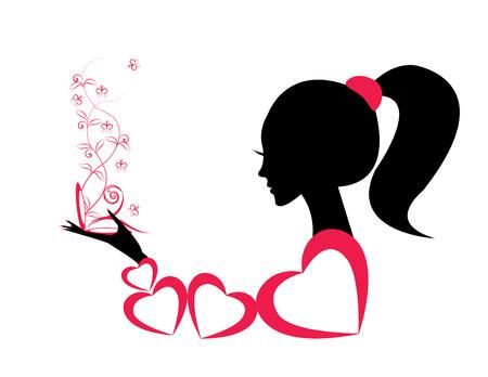 Profiel van een meisje of een vrouw. vector Stock Illustratie
