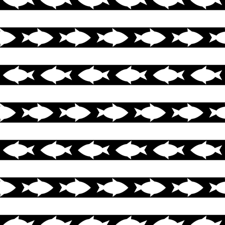 textile image: black and white seamless pattern with fish. vector Illustration