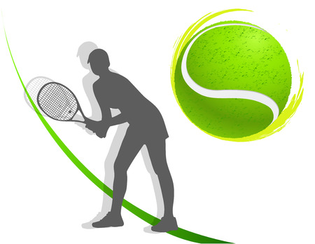 sport background tennis. woman. vector Illustration