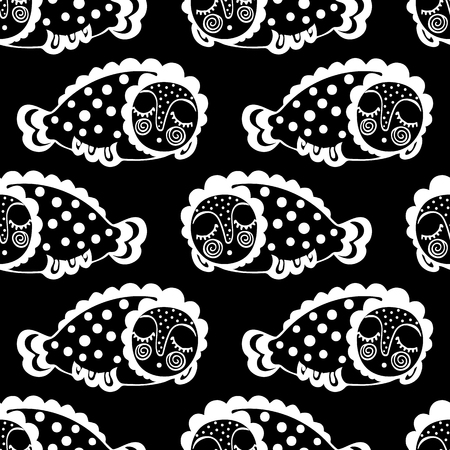 seamless pattern with dream fish. vector. marinelife Ilustração