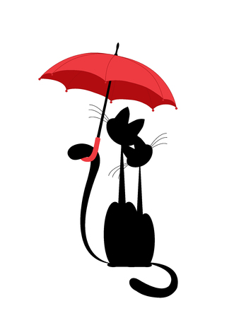 loves black cat and lady cat under a red umbrella. vector. isolated Illustration