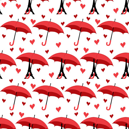 seamless pattern with eiffel tower with umbrella and hearts. vector