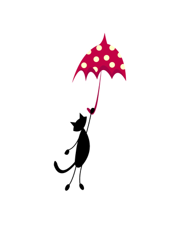 funny black cat flying on a red umbrella. vector isolate.