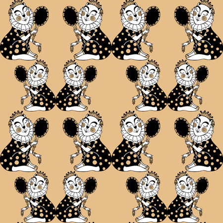 seamless pattern with cat princess looks in the mirror. Vector.