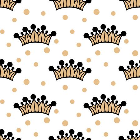 white seamless pattern with big crown. vector