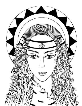 Lélia est la déesse de la jeunesse et de l'amour. noir et blanc. vecteur