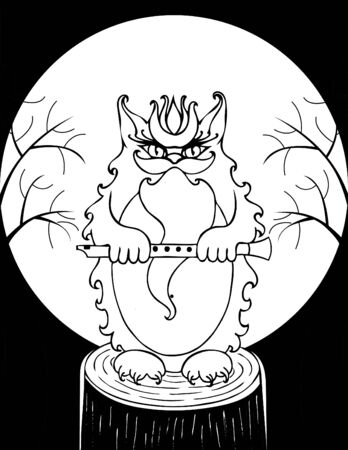 Cat Bayun from Slavic tales. vector. black and white. Halloween Иллюстрация