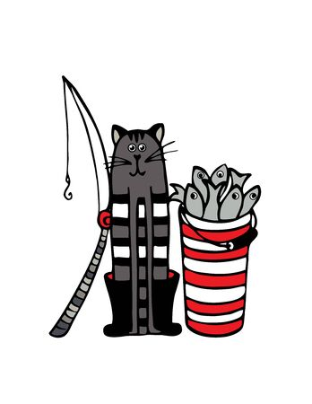 Cat fisherman with a bucket of fish and fishing rod. Vector  イラスト・ベクター素材