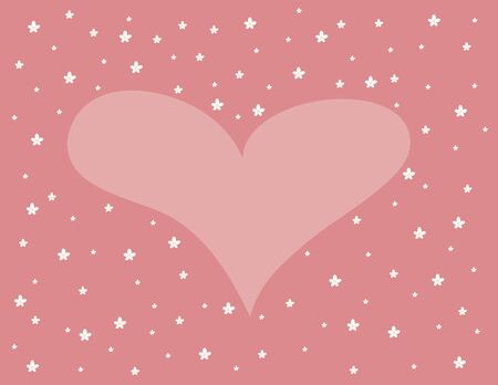 Pink Background with heart and flowers. Valentines Day. vector