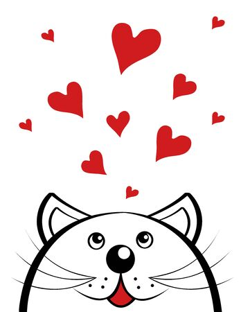 funny cat in love looks at a lot of red hearts. Valentines Day. vector
