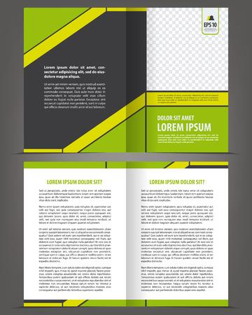 brochure layout: Vector empty bifold brochure print template design with green elements