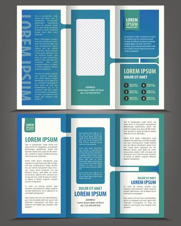 threefold: Vector empty trifold brochure blue design print template Illustration