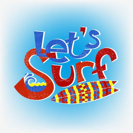 malibu: Lets surf lettering design, hand-drawn t-shirt typographic vector surfing print, bright surfboard illustration