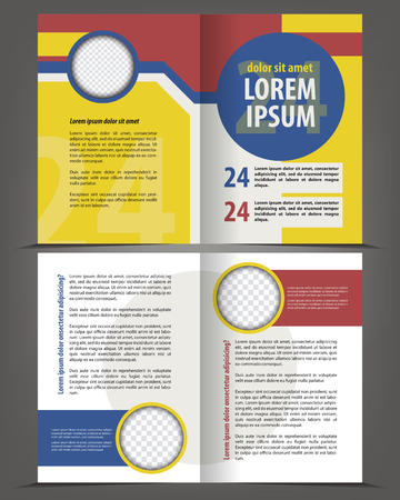 page design: Vector empty bi-fold brochure print template design
