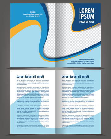 stern: Vector empty bi-fold brochure print template design with blue and orange elements