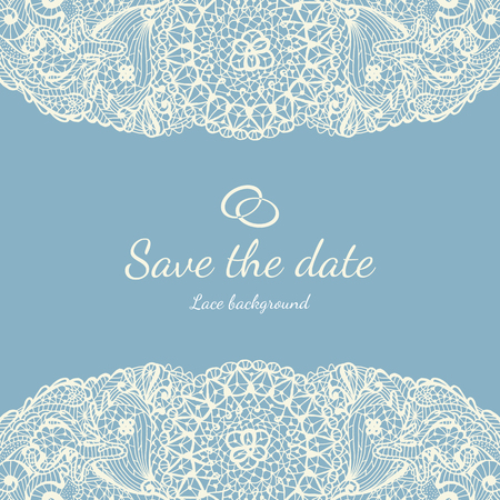 Vector wedding invitation card with vintage baroque rococo lace vector vector wedding invitation card with vintage baroque rococo lace ornate background save the date blue ornament stopboris Images