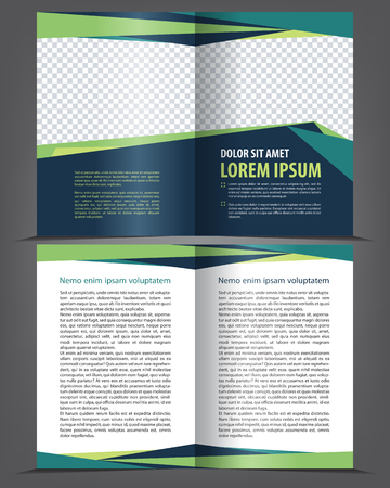 page layout: Vector empty bifold brochure print template design with dark and bright elements Illustration