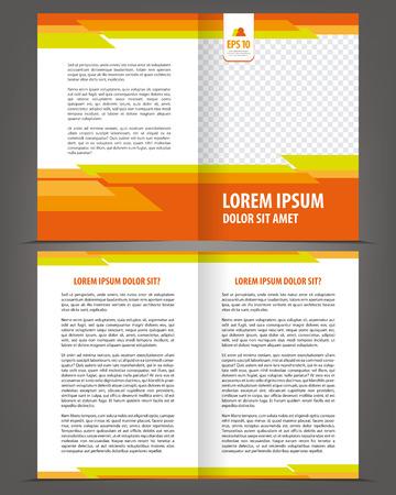 Vector empty bifold brochure print template design with orange elements