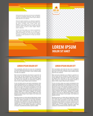 page layout design: Vector empty bifold brochure print template design with orange elements