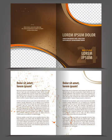 book pages: Vector empty bi-fold brochure print template flat design