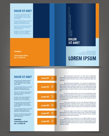 magazine template: Vector empty bifold brochure print template design