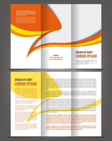 threefold: Vector trifold orange brochure print template design