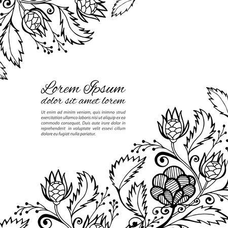 Vector black lace invitation, openwork lacy border Illustration