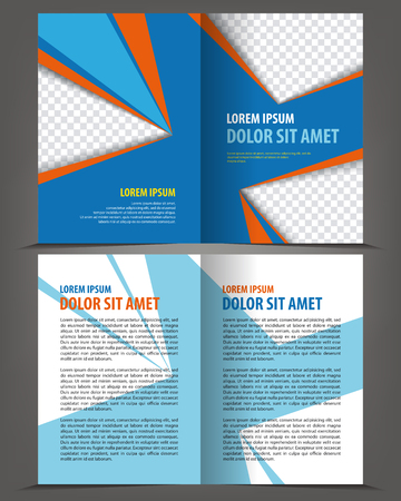 bifold: Vector empty bifold brochure template design, print layout orange blue Illustration