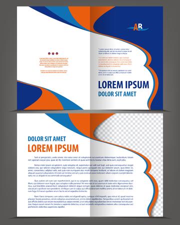 Vector empty bifold brochure template design, print layout orange blue Illustration