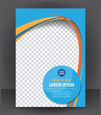 Magazine, flyer, brochure, cover layout design print template, blue vector Illustration Vectores