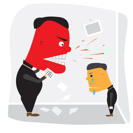 bawl: Angry boss with red face shouting at employee Illustration
