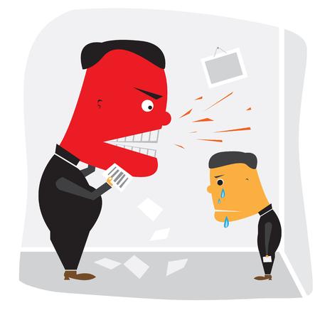 superintendent: Jefe enojado con la cara roja gritando a los empleados Vectores