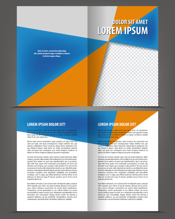 bifold: Vector empty bi-fold brochure print template design with blue elements Illustration