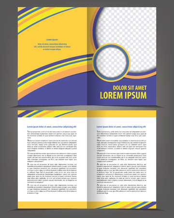 bifold: Vector empty bi-fold brochure print template design with violet elements Illustration
