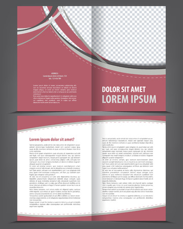 print template: Vector empty bi-fold brochure print template design