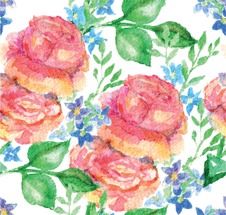herb garden: Vector seamless floral rose pattern background. Watercolor illustration with flowers, aquarelle Illustration