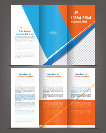 Vector empty trifold brochure template design with blue and orange elements