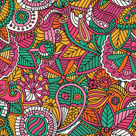 シームレスな明るい民族の無限パターン、民族の花飾り、ファッション生地パターンをベクトルします。