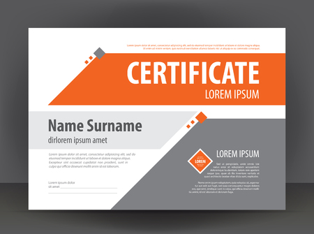 certificate template: Vector modern light gray orange certificate or diploma design print template