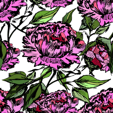 seamless tile: Vector seamless bright ethnic endless peonies pattern, floral ornament, fashion pattern for fabric