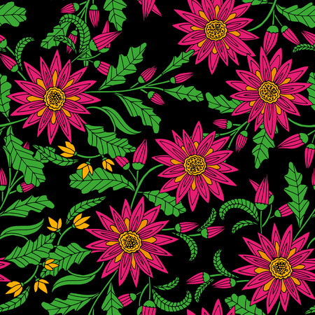 pink and black: Vector seamless bright ethnic endless pattern, floral pink black ornament, fashion fabric pattern