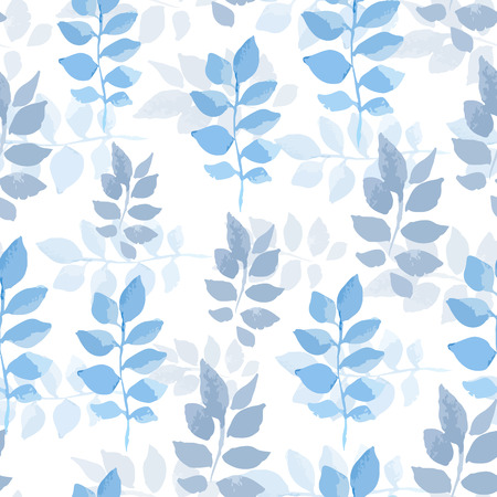 abloom: Vector watercolor seamless bright blossom pattern, floral spring branch ornament, fashion print for fabric, small watercolor pencil drawing leaves