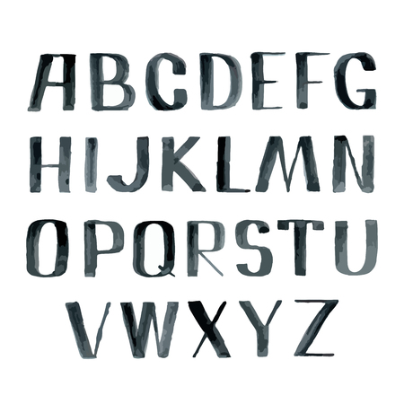 aquarel: Watercolor hand drawing sketch vector alphabet, black aquarelle font, uppercase type letters