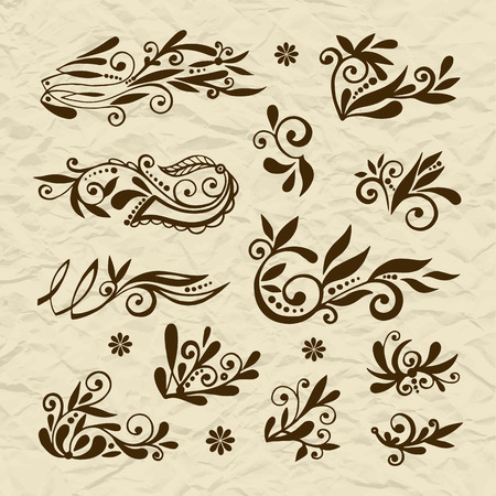 swirls vector: Set of vector stylized flowers leaves, retro old vintage swirls on torn paper Illustration